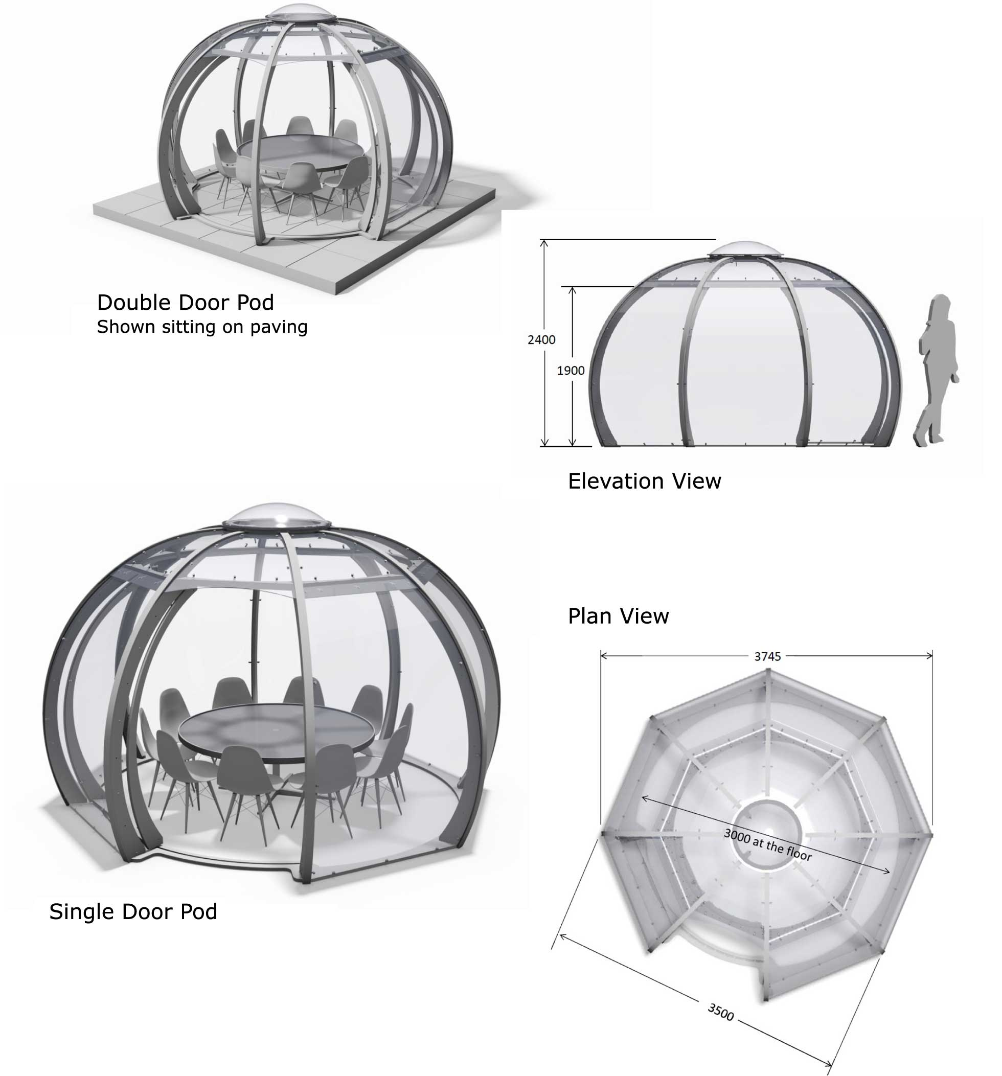 3d CGI renderings of pods in perspective, plan and elevation views