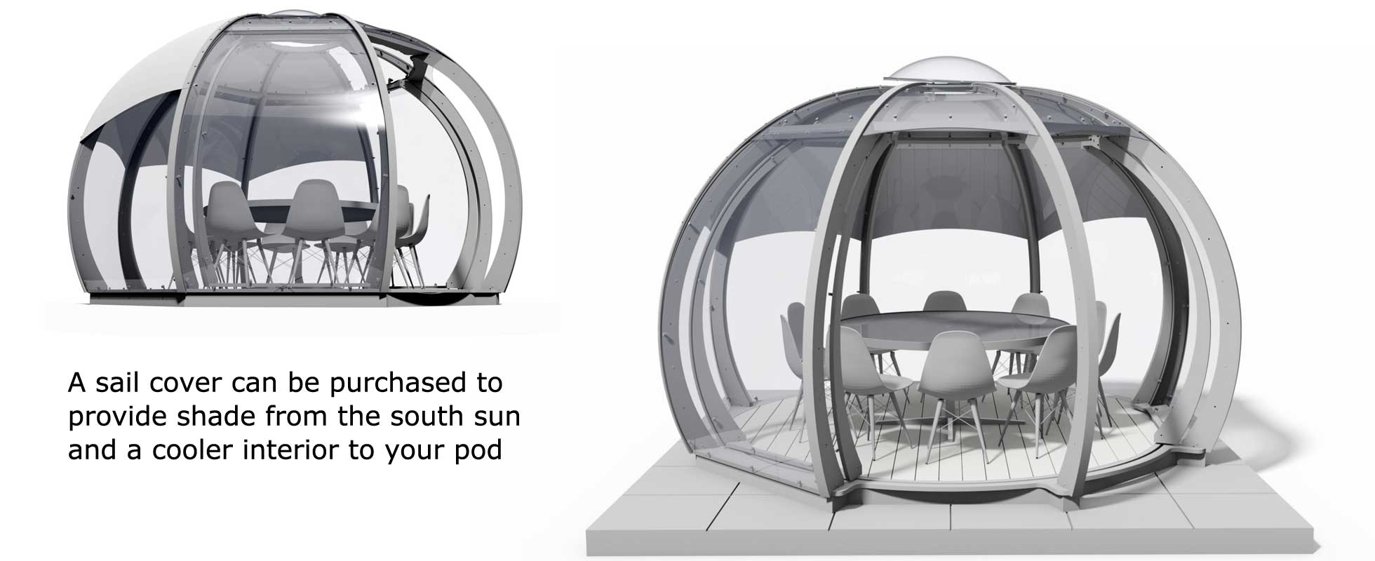 Two 3d renderings to show pod sail covers for sun shade