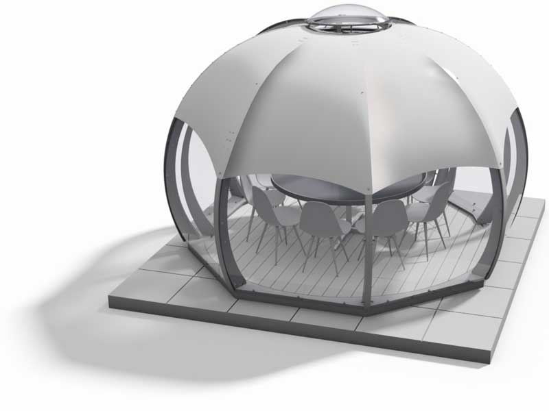 3d rendering of a pod with sun shade attached