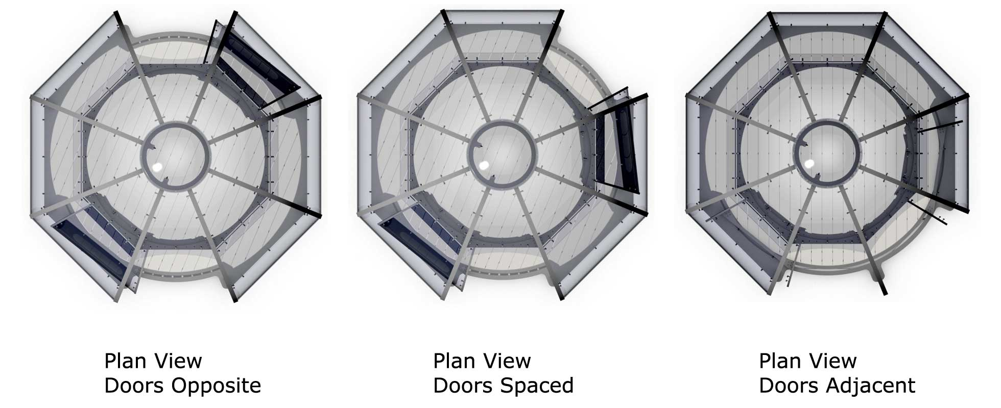 Three plan diagrams indicating possible door locations for a pod